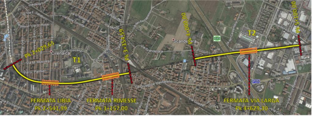 Identificazione delle due tratte in cui sono previsti interventi nell'ambito dell'interramento della Bologna-Portomaggiore