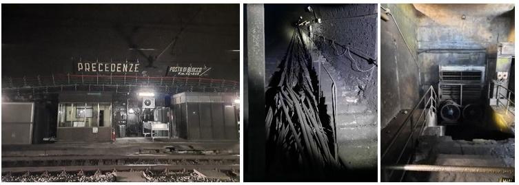 """Foto del sopralluogo nella ex stazione sotterranea """"Precedenze"""", ora Posto di Comunicazione, a Ca' di Landino"""